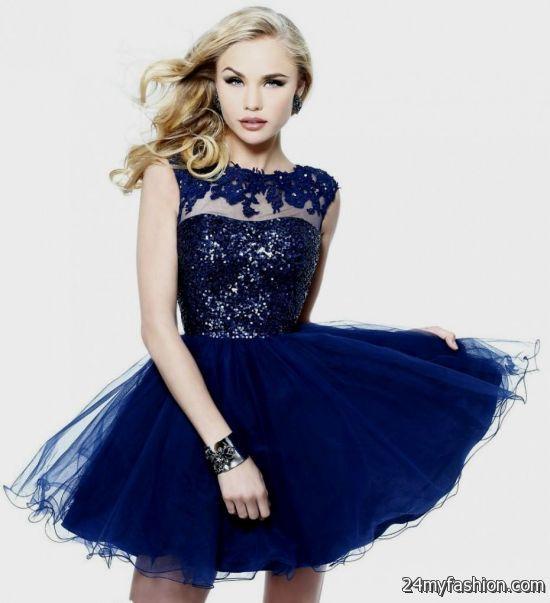 Dark Blue Short Prom Dresses 2014