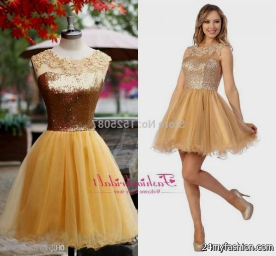 Cheap short gold prom dresses