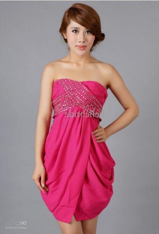 short hot pink chiffon dress 2016-2017 » B2B Fashion