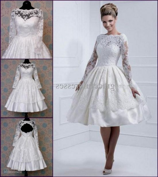 Short Lace Wedding Dress With Long Sleeves 2016 2017