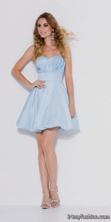 Short Light Blue Bridesmaid Dresses Looks B2b Fashion
