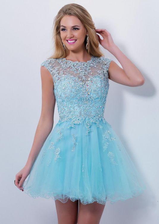 Short baby blue lace dress