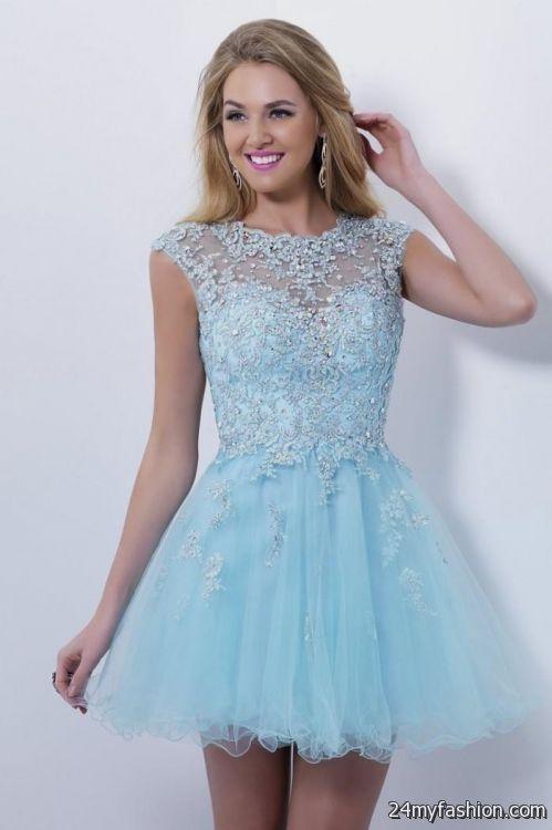 Light Blue Short Formal Dresses for Women