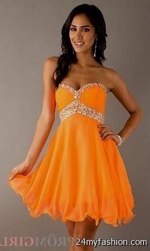 Short Neon Orange Prom Dresses Looks B2b Fashion