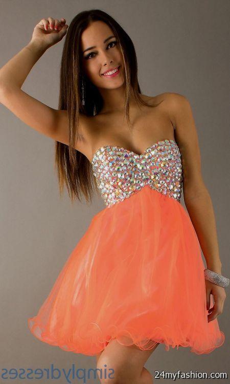 short neon orange prom dresses 20162017 b2b fashion