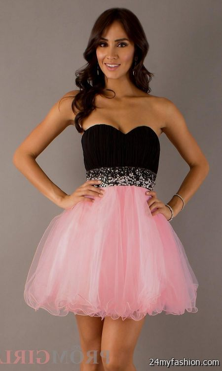 Short prom dress black and pink