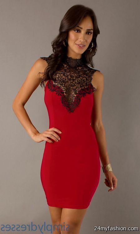 Short Red And Black Lace Dress Looks B2b Fashion
