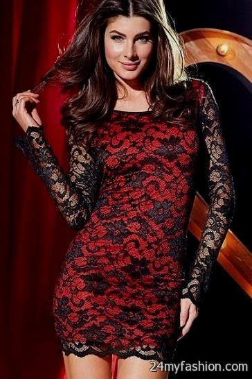 Red and black lace long dress