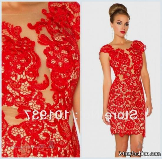 short red lace dress with sleeves 2016-2017 » B2B Fashion