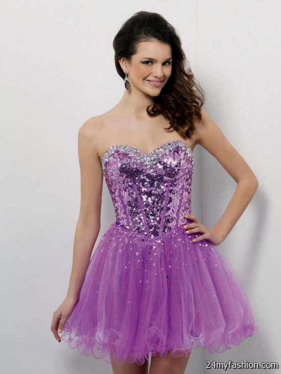 Purple Glitter Prom Dress