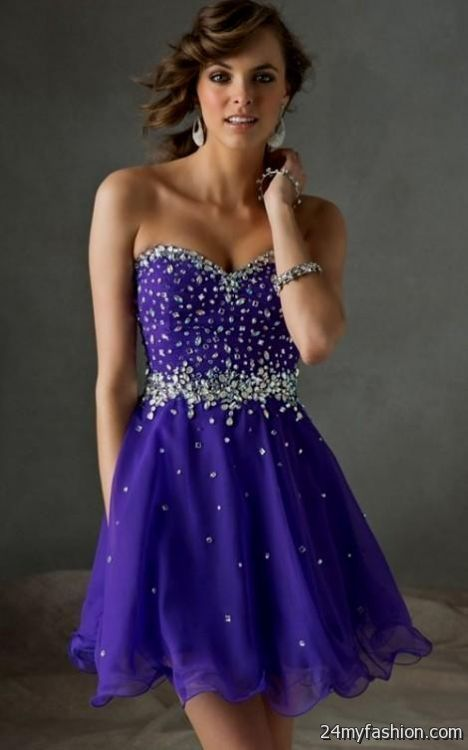 Short Strapless Purple Dresses