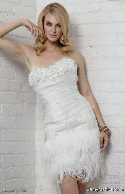 Short Wedding Dresses With Feathers Looks B2b Fashion