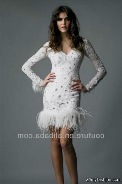 Short wedding dresses with feathers 2016 2017 b2b fashion for Short feather wedding dress