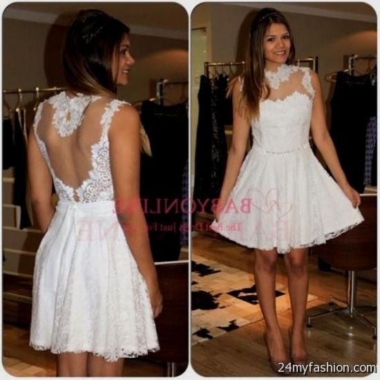 short white lace dresses for prom