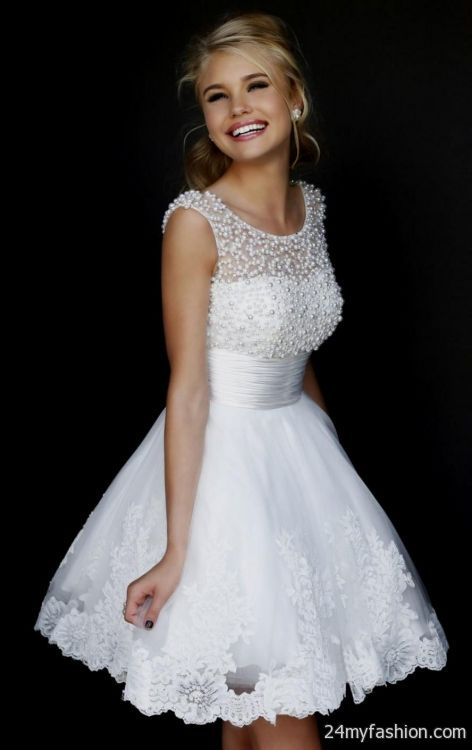 Short White Lace Prom Dresses 2014 2016 2017 B2B Fashion