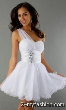 White Prom Dresses Short Photo Album - Reikian
