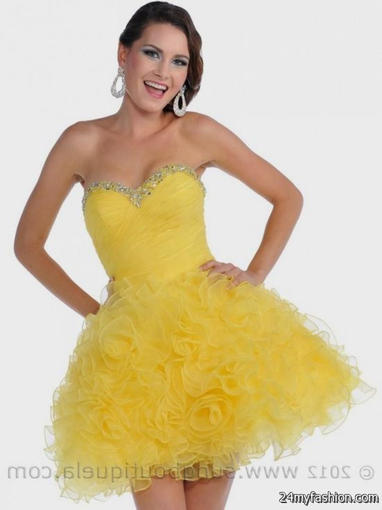 Yellow Prom Short Dresses