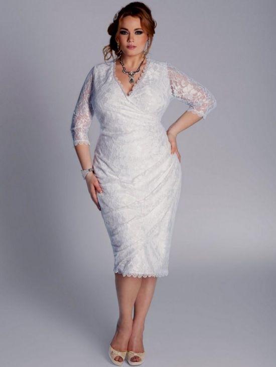 Simple Plus Size White Dress 2016 2017