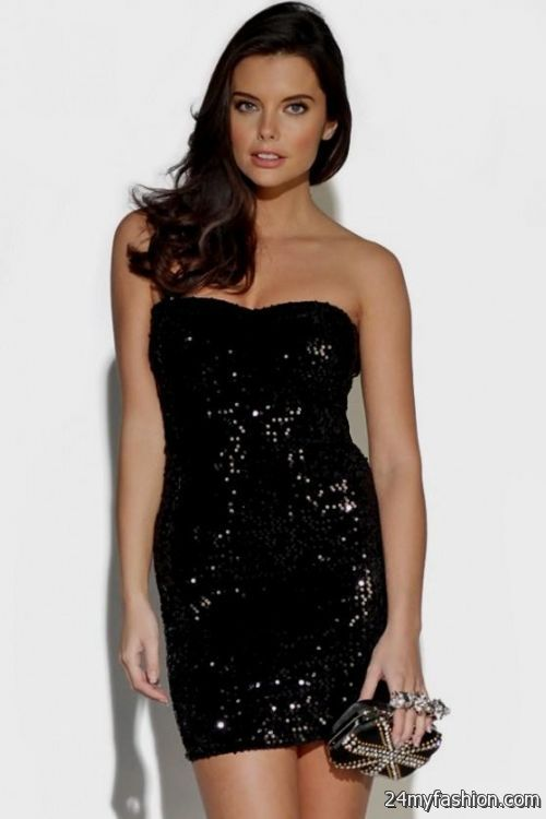 Strapless black sequin mini dress