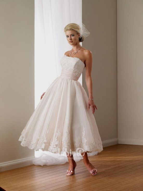 Strapless Tea Length Wedding Dress - Dresses