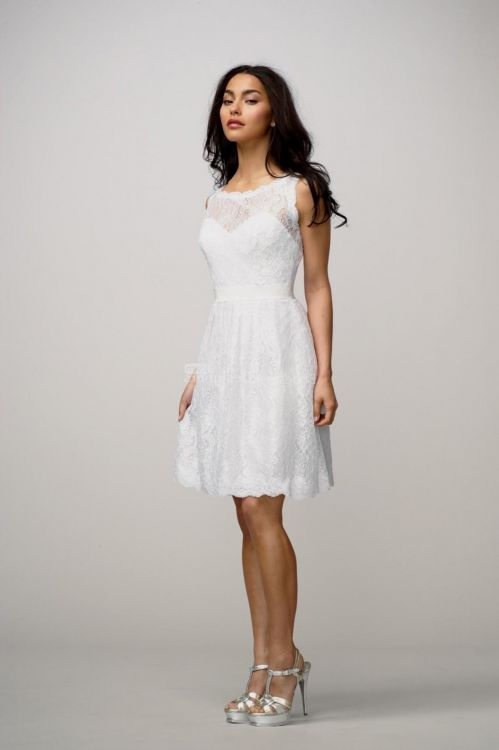 strapless white lace d...
