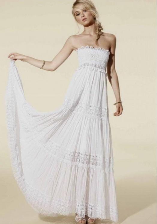 Strapless white maxi dress