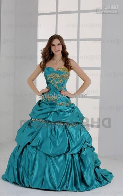 e155d9425c8 Browse our beautiful collection of long prom dresses and short prom dresses!  You can share these sweet 15 dresses turquoise and gold on Facebook ...