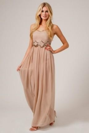 Tan Chiffon Maxi Dress - Missy Dress