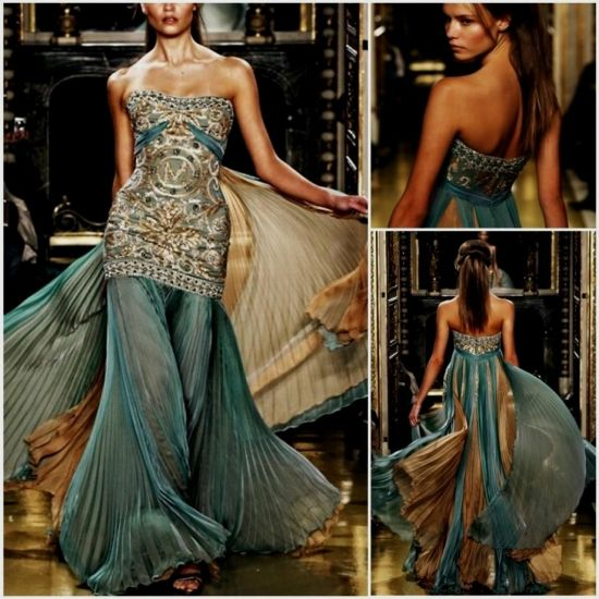 Teal And Gold Long Dress - Missy Dress