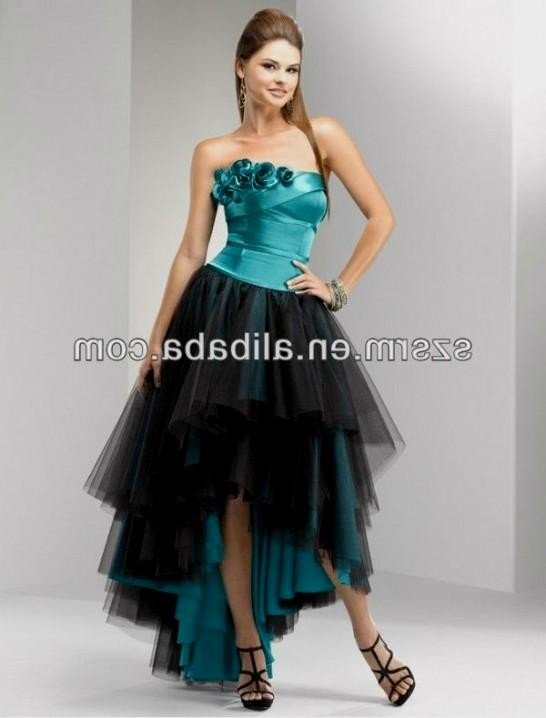 Turquoise and black prom dresses