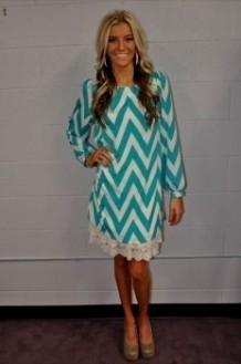Turquoise Chevron Dress - Missy Dress
