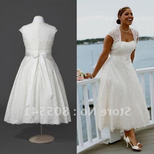 Vintage plus size tea length wedding dresses 2016 2017 for Plus size tea length wedding dresses