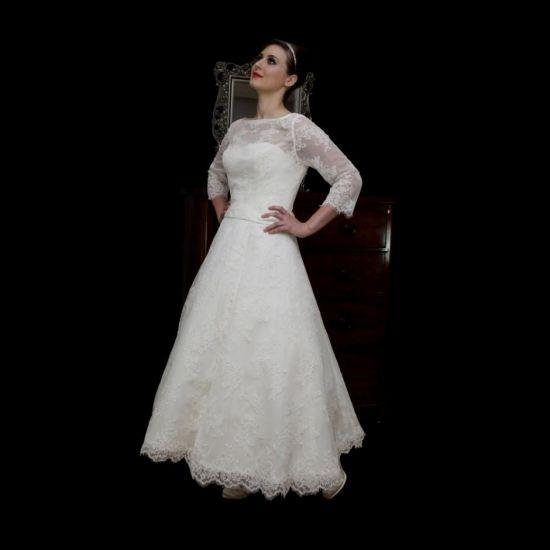 Vintage Tea Length Lace Wedding Dress 2016 2017