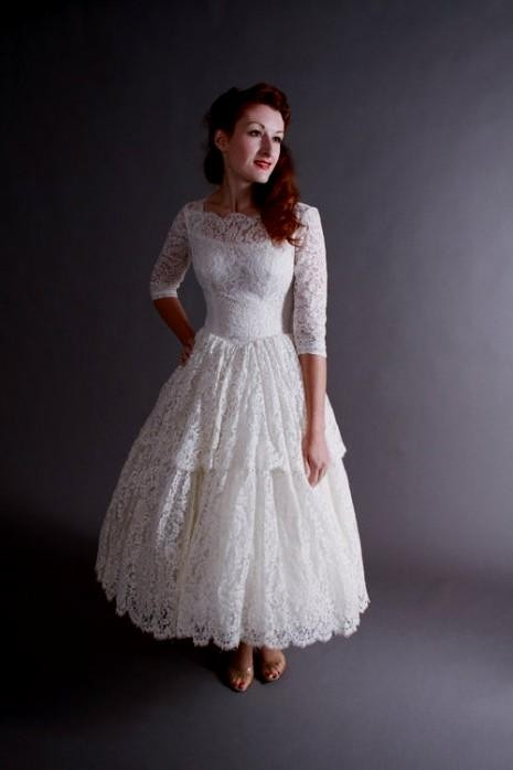 vintage tea length lace wedding dress 2016-2017 | B2B Fashion