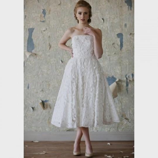 Vintage tea length strapless wedding dresses 2016 2017 for Midi length wedding dress