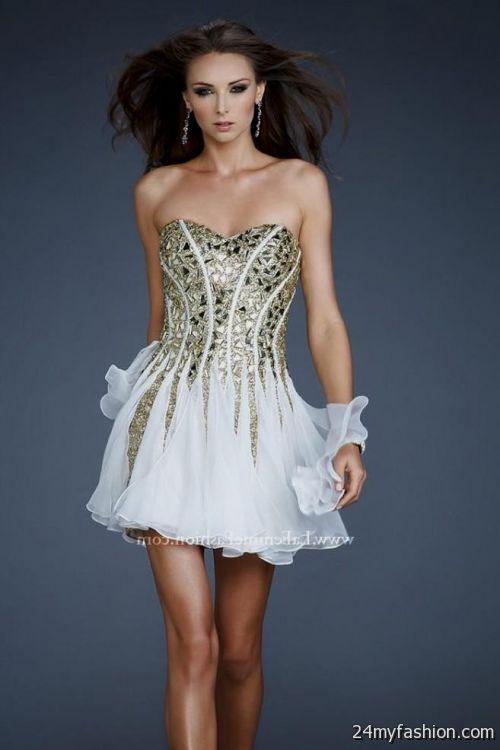 white and gold short prom dresses 20162017 b2b fashion
