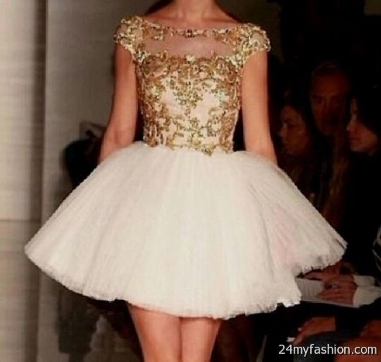 White And Gold Short Prom Dresses Looks B2b Fashion