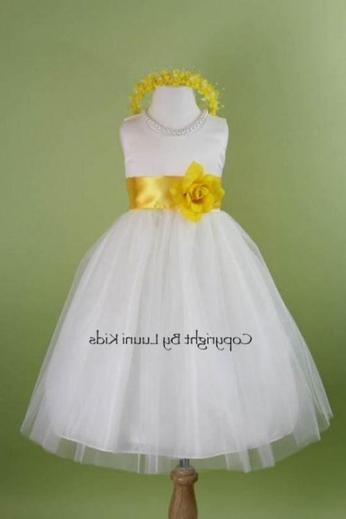 Black and white flower girl yellow dress amusing piece