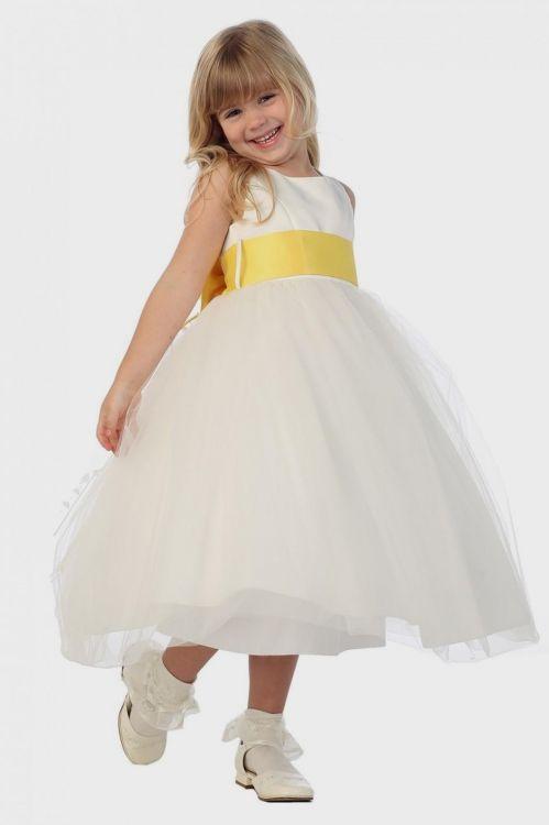 Has Black and white flower girl yellow dress something