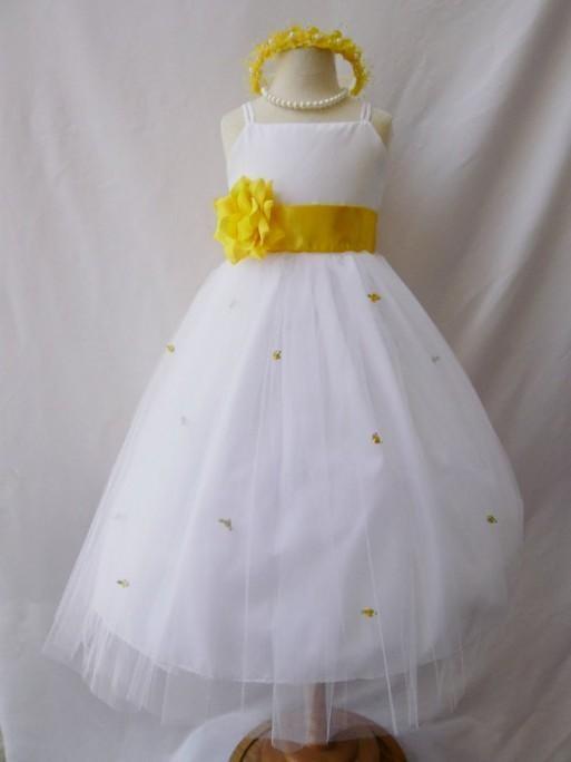 White And Yellow Flower Girl Dresses 2016 2017 B2b Fashion