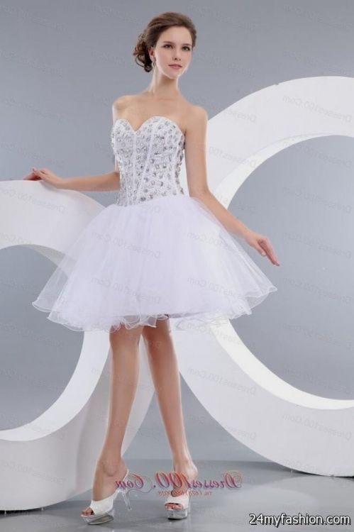 dama dresses for quinceanera,Short White Quince Dress,