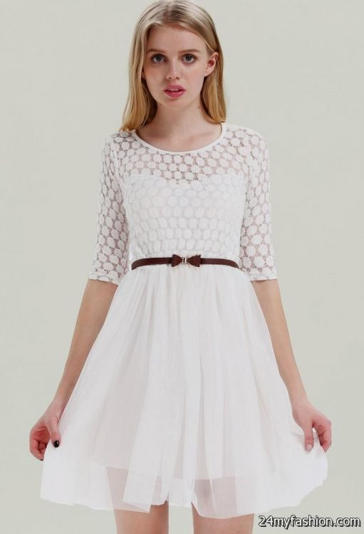 white lace dress with sleeves and belt 2016 2017 b2b fashion
