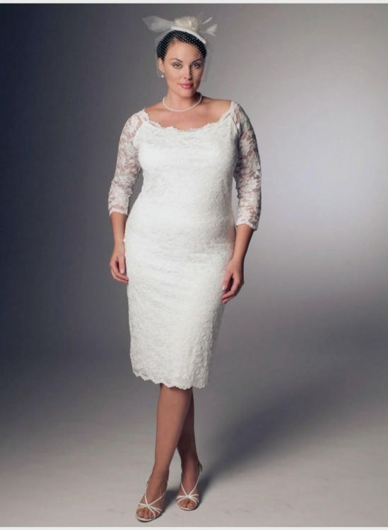 White Lace Dress With Sleeves Plus Size 2016 2017 B2b Fashion