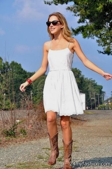 short white dress with cowboy boots | Gommap Blog