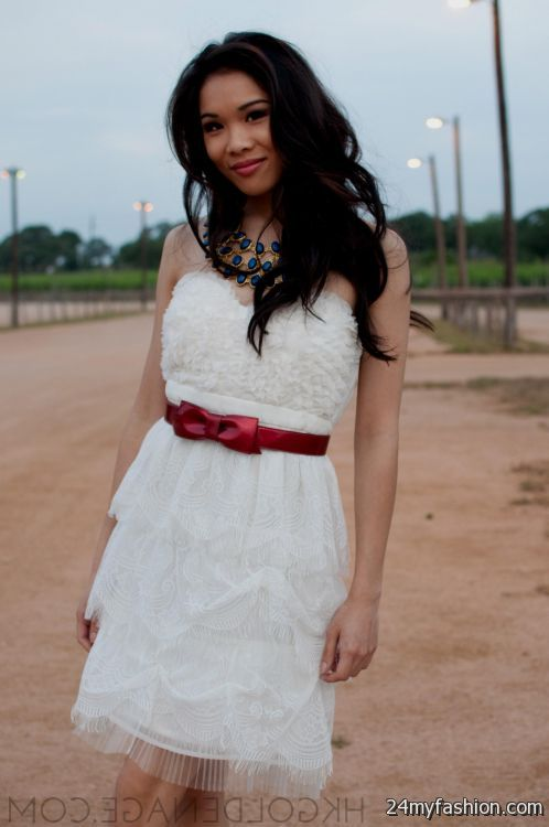 White Lace Summer Dress With Cowboy Boots Looks B2b Fashion