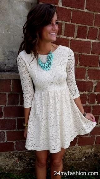 White Lace Summer Dress With Cowboy Boots 2016 2017 B2b