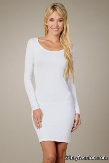 White Long Sleeve Fitted Dresses