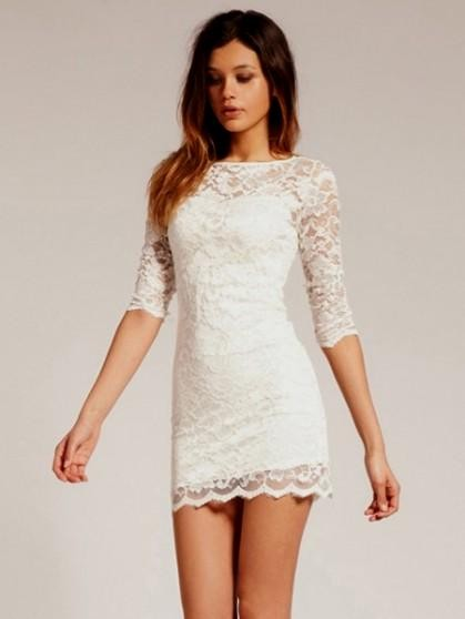 long sleeve white lace dress mini | Gommap Blog