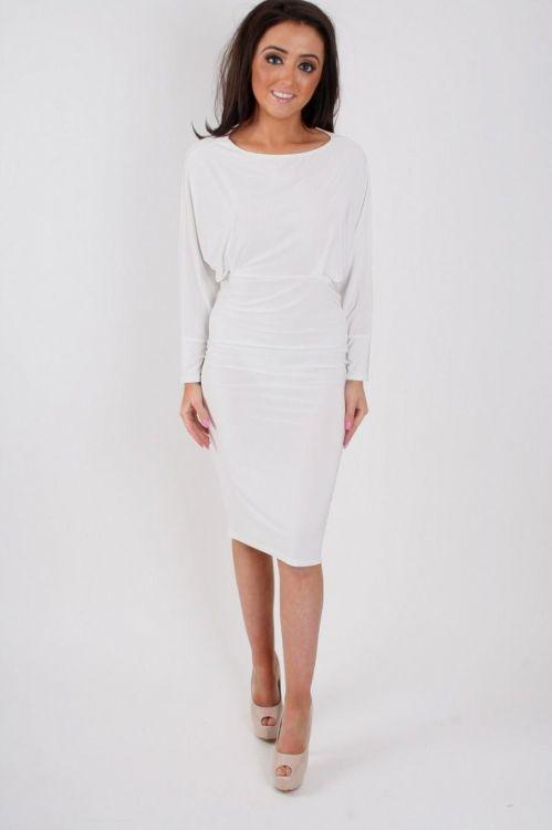 White Long Sleeve Midi Dress 2016 2017 B2b Fashion