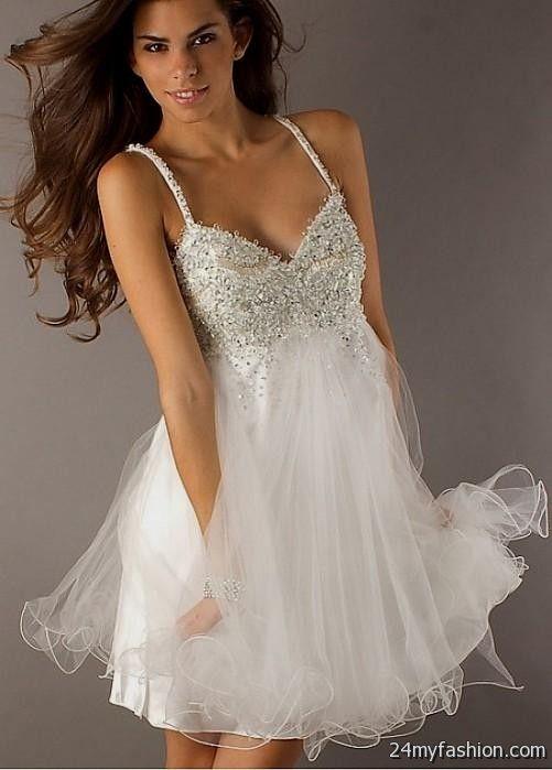white short prom dresses with straps 2016-2017   B2B Fashion